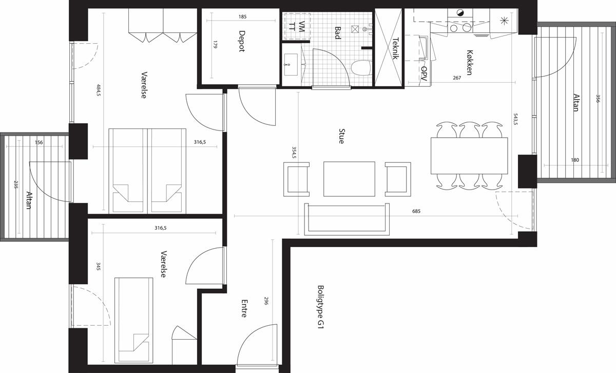 97 kvm. lejlighed m. 2 altaner i Ørestad - KBH-Bolig.dk - Gratis Boligportal