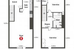 115 m2 fordelt på to etager i Ørestad